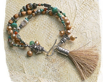 Tassel bracelet, Colorful bohemian bracelet, Gypsy braceletMulti-strand bracelet, Boho bracelet, Beaded bracelet tassel,