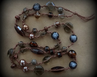 Boho Necklace, As featured in Belle Armoire Jewelry, Original, Hemp, Glass, Stone, Handmade, One of a Kind