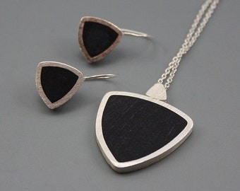 Stylish Black Sterling silver and Resin Pendant and Earrings