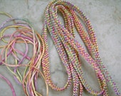 Kumihimo Hand Woven Flat Braid in Hand Dyed Rayon Satin Cord by All My Beads Mulitcolor Pastels Satin