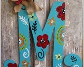 monogram, letter, initial, door decor, door art, spring, summer, welcome sign, monogrammed, initials, front door decor, door hanger,burlap