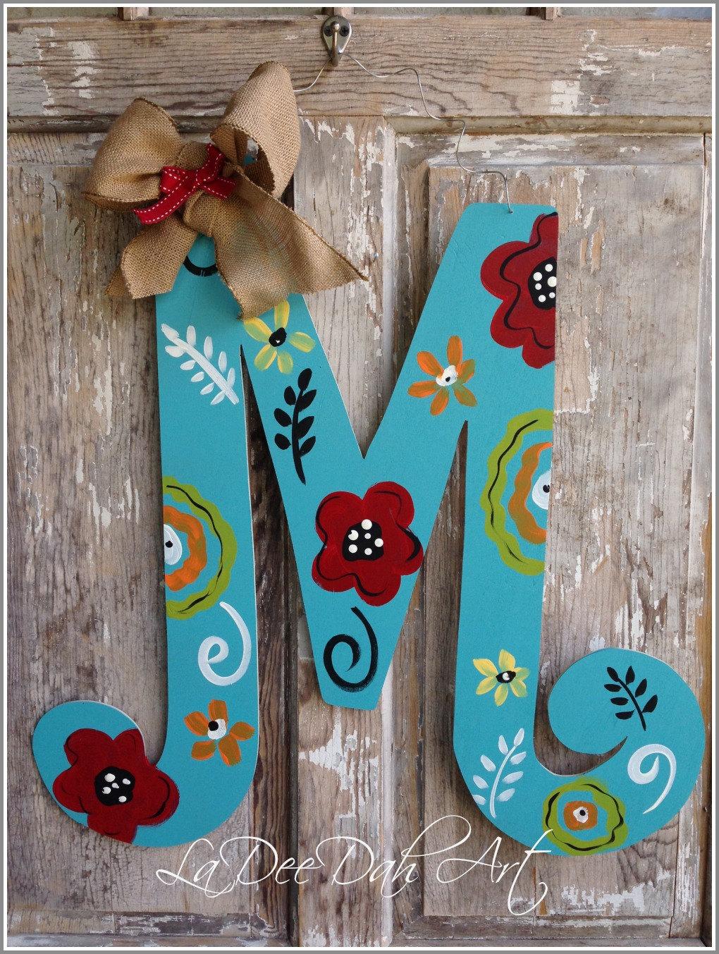 Monogram Letter Initial Door Decor Door Art Spring