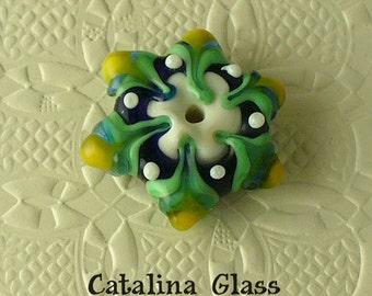 Lampwork Glass Beads Handmade by Catalina Glass SRA  Cobalt and Green Star Flower Focal