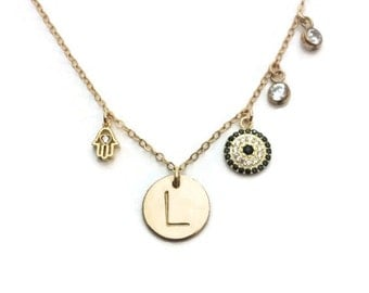 Hand stamped personalized gold initial disc necklace with cubic zirconia accents, hamsa, evil eye Perfect gift for mother's day!