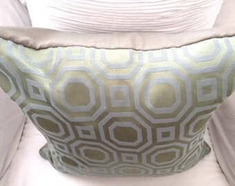 Blue and Green Satin Modern Octagon Pillow Sham