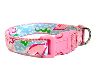 Dog Collar Made from Lilly Pulitzer Lobstah Roll Fabric on Pink Size: Your Choice