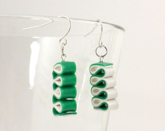 Ribbon Candy Earrings - Christmas Earrings - Green and White Earrings - Holiday Earrings - Handmade, Polymer Clay - Ready to Ship #108