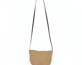 Brown criss cross Pocket Pouch (large)