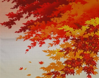 Japanese Fabric Square Furoshiki 'Maple Leaves in Autumn' Cotton 50cm w/Free Insured Shipping