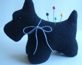 Wool Felt Scottie  Scotty Dog PinCushion with Blue Bow, Glass Eyes
