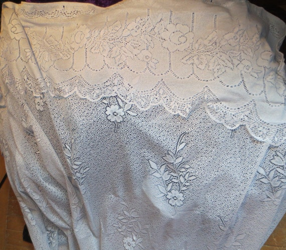 vintage soft gray white lace shower curtain. Black Bedroom Furniture Sets. Home Design Ideas