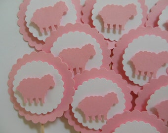 Sheep Cupcake Toppers - Pink and White - Girl Baby Shower - Girl Baptism Decorations - Girl Birthday Party Decorations