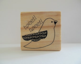 Bird Stamp - Hoot and Howl Collection - Wood Mounted Rubber Stamp