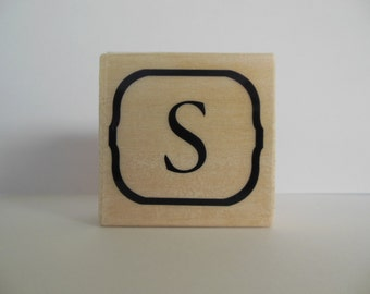 Letter S Rubber Stamp - Blooming Petals Collection - Alphabet Letter S Stamp