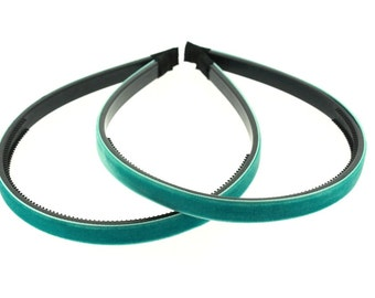 """2 pieces - 10mm (3/8"""") Velvet Lined Headband with Teeth in Turquoise - Hair Accessories"""