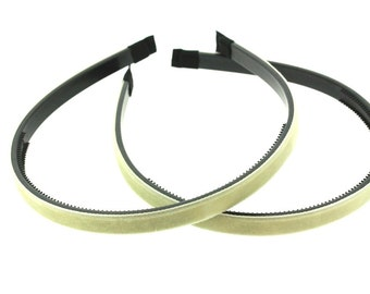 "2 pieces - 10mm (3/8"") Velvet Lined Headband with Teeth in Ivory - Hair Accessories"