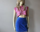 Vintage 80s suede skirt ~ high waist electric blue - S
