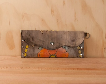 Leather Pouch or Clutch - Bee Line Pattern - Flower and bees in orange, yellow, gold and antique black