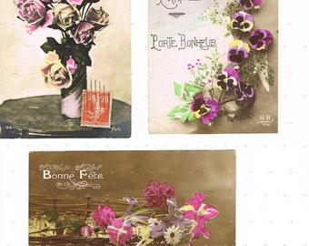 Antique,Postcard.LOT of THREE.retro.Paris.french.rare.scrap book.flower.home decor.mom.note.author.writer.carte fantasie.vintage.crafting.