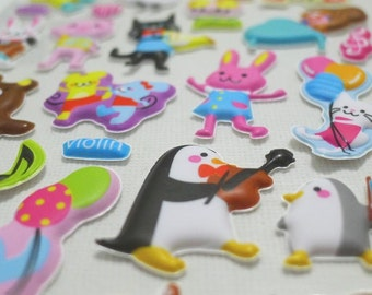 Cute Puffy Japanese Stickers  - Animal Fun - Musical Party (1297)