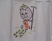 Vintage Victory Garden - Eggplant -  Embroidered Flour Sack Tea Towel - Bright and Fun!