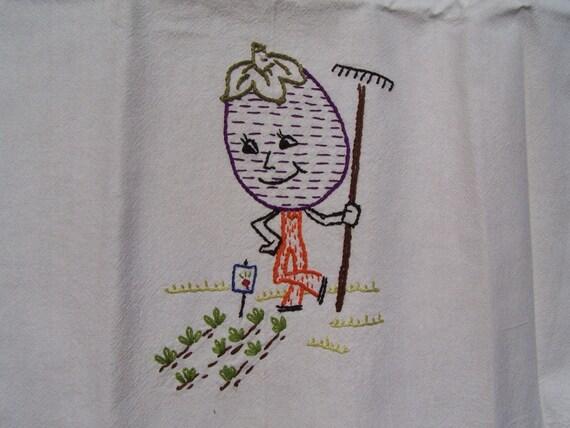 Vintage Victory Garden - Eggplant -  Embroidered Flour Sack Tea Towel - Bright and Fun!