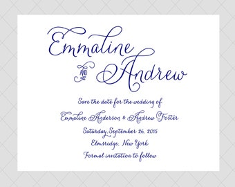 Navy Save the Date Cards - Traditional, Classic Save the Date