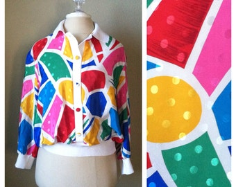 Vintage 80s abstract shapes print top / bold colors / pop art / graphic / street style / punk / club kid / novelty print