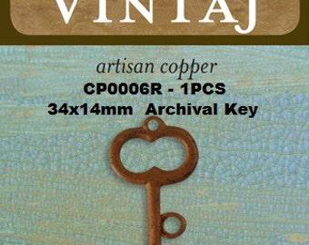 Vintaj Artisan COPPER Archival Key Pendant 34x14mm ( CP0006)