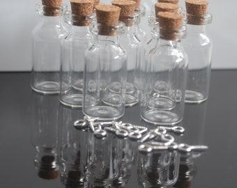 10 small glass vial bottles 2ml
