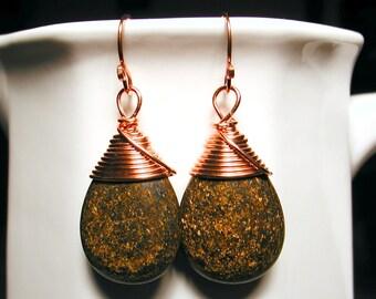 Copper Wrapped Jasper Gemstone TearDrop Earrings - MOCHA LATTE