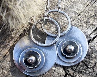Gypsy Hoop Flower Dangle Earrings - oxidized stelring silver earrings