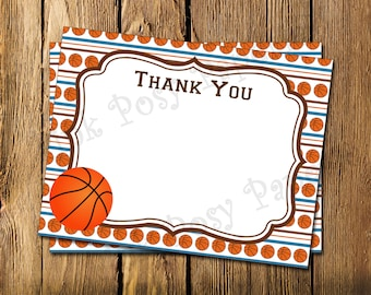 Printable Basketball Theme Flat Thank You Note Cards - Instant Download