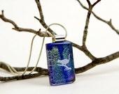 Dichroic Cat Pendant - Fused Glass Necklace - Cat Jewelry - Green Dichroic Pendant - Dichroic Glass Jewelry
