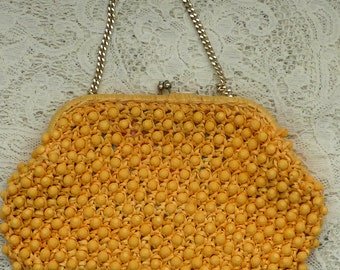 Beaded Walborg bag, vintage 1960s rafia purse, made in japan, vintage chain clutch purse, beaded bag