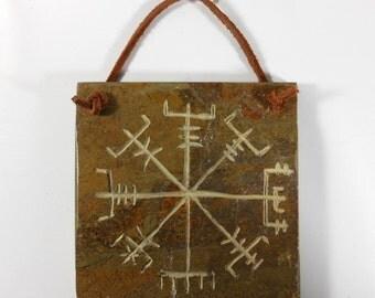Vegisir - 4x4 TILE HANGER - Carved Natural Slate Stone - Viking Norse Scandinavian Decoration Wall Door Hanger Home Decor, Viking Norse Gift