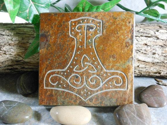 THOR'S HAMMER Art Tile - Mjollnir Altar Tile - Hand Carved Slate Stone, Thors Hammer, Norse Art, Pagan Art, Viking Art, Norse Decor