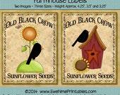 Instant Download - Printable Farmhouse Labels - Black Crow Sunflower 102 - Digital PDF or JPG File