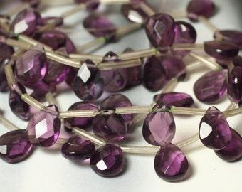 Purple quartz faceted teardrop briolette 12x8mm, 2 pcs (item ID PQFFT12)
