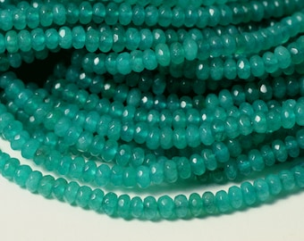 Candy jade faceted rondelle 4mm lake blue, 24 pcs (item ID CJRN4LB)