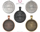 1 In Circle Pendant Tray with Textured Back. 25mm. Silver, Vintage Silver, Vintage Gold, Vintage Copper Options. 25 Pack.