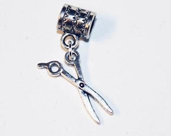 Silver SCISSORS Lrg Hole Bead Fits All European Add a Bead Charm Bracelet Jewelry Pnd-Gen209