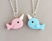 Best Friends Pink and Blue Narwhal Necklaces