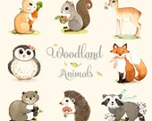 Woodland animals print set, woodland forest animals, Woodland animals nursery, Forest animal, Woodland creatures set of 8 prints