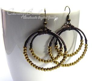 Hippie Boho Earrings, Brass Beads Waxed Cord Earrings