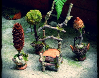 Faery Garden Miniature Topiaries in Natural Materials Custom Order