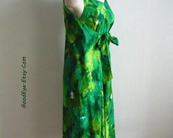 Unique  1960s TIKI TOGS Wrap Dress RESORT size 6 8 10 Green  Hawaiian Sun Dress