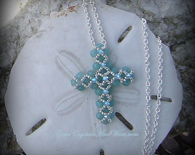 Beaded Amazonite Cross, Gemstone Cross Necklace, Swarovski Cross Necklace, Hand Beaded to Order, OOAK Cross Necklace, Green Amazonite