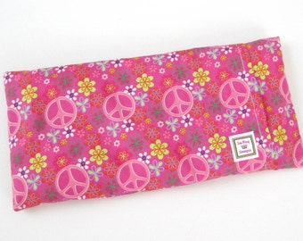 Heating Pad (Microwavable)- Pink Peace  // Buckwheat and Rice Heating Pad // Cold Pack // Removable Cover