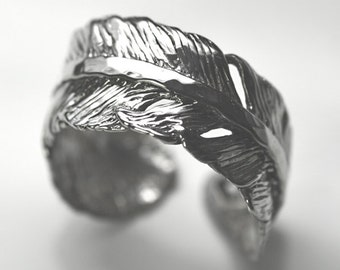 Feather Sterling Silver Adjustable Spoon Ring